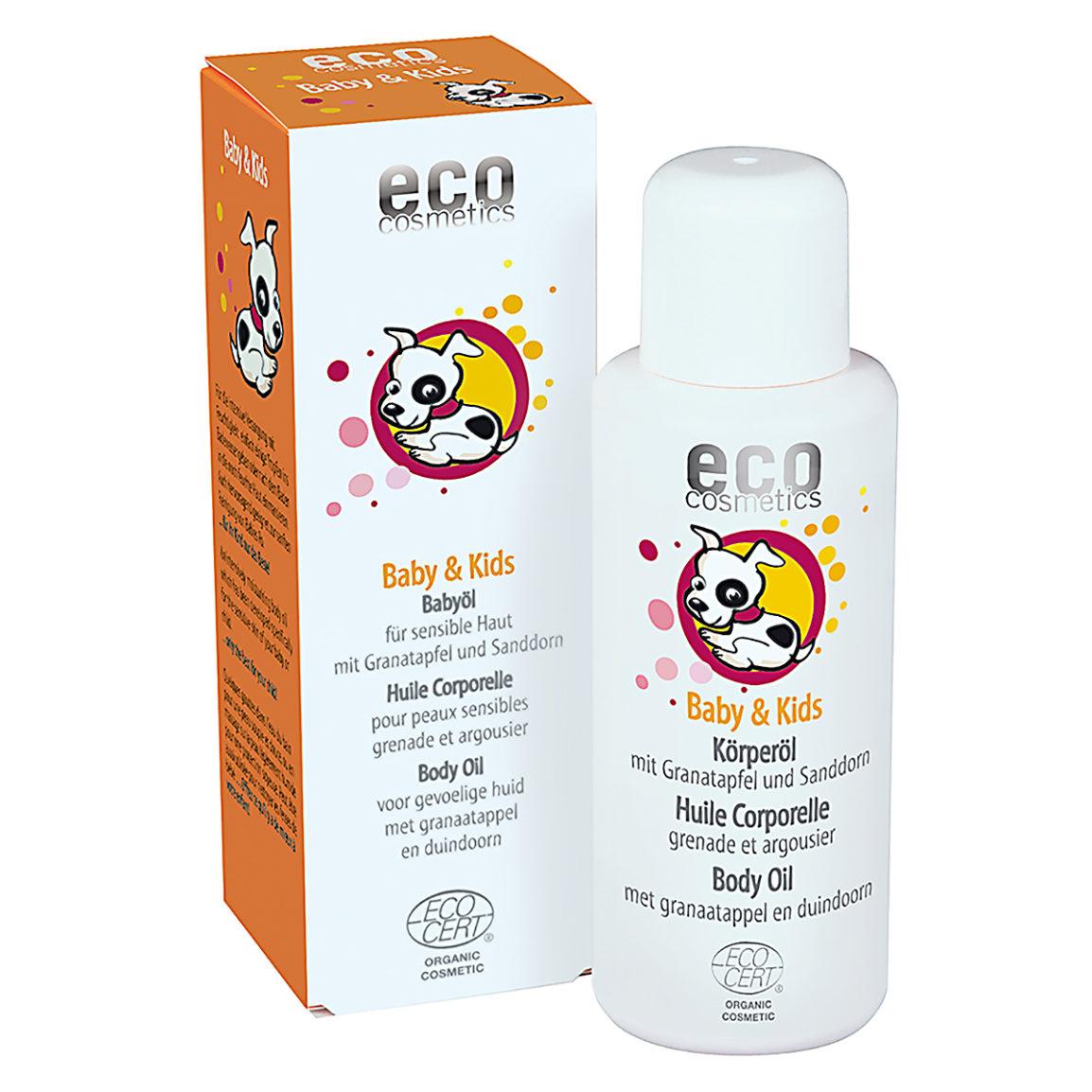 O óleo corporal com extratos de romã e espinheiro fornece cuidados e proteção naturais para a pele sensível do seu bebé/criança.