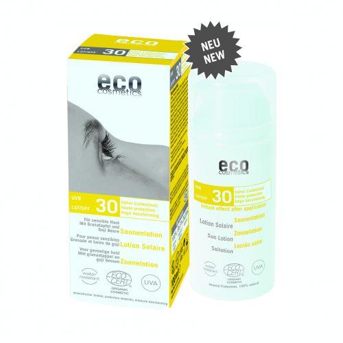 Protetor solar mineral, para peles sensíveis, com romã e bagas goji. Protege a pele dos efeitos nocivos dos raios solares.