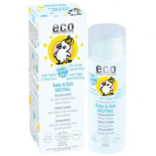 Protetor solar neutro SPF50, com máxima proteção contra a luz solar, para a pele macia dos bebés e crianças. Sem perfume.