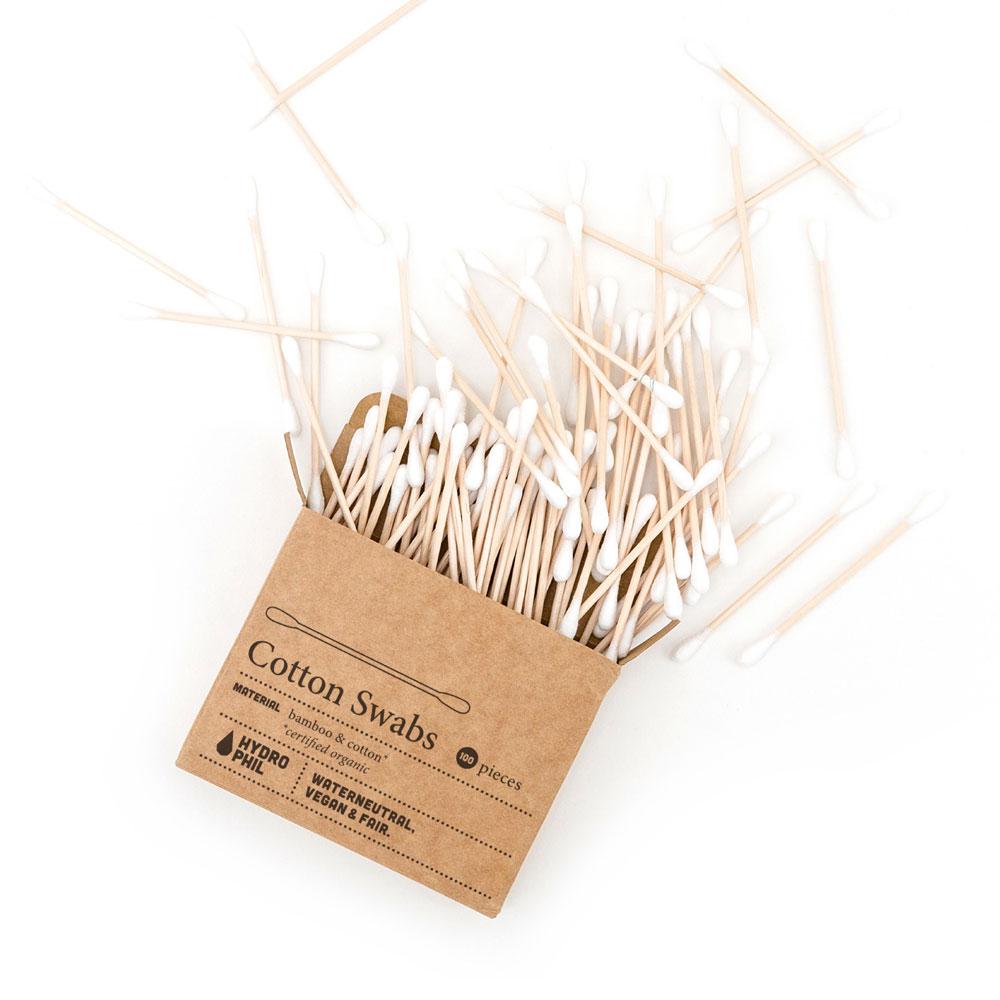 Os cotonetes da Hydrophil são feitos de bambu e algodão macio e, por isso, são biodegradáveis!