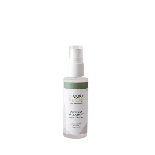 Desodorizante biológico sensitive (para peles sensíveis) em spray. Disponível em 2 aromas: sálvia & menta e tangerina & limão.