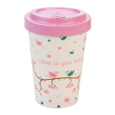 Owls Bamboo Cup Rosa