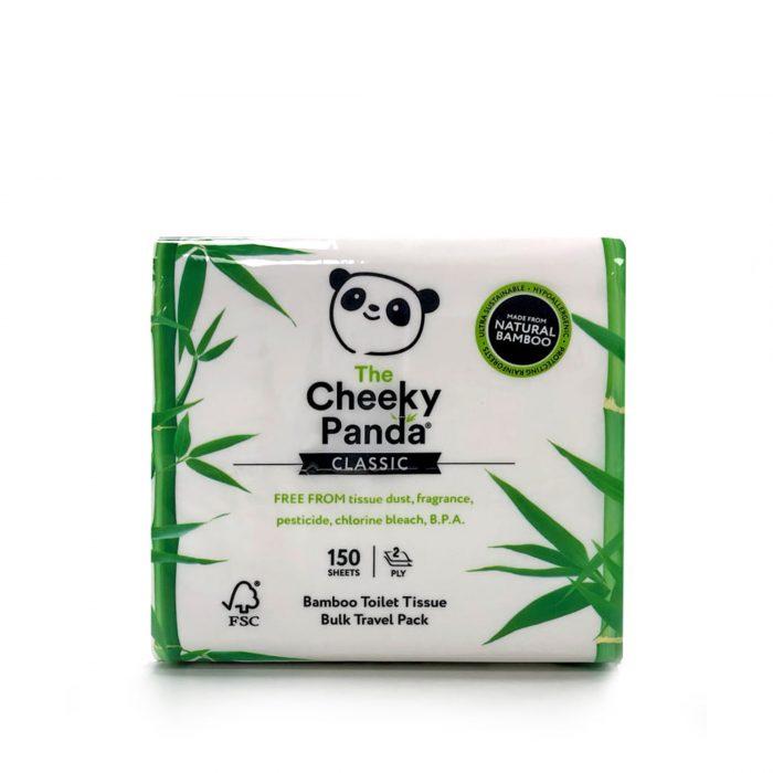 Embalagem com 150 folhas de papel higiénico de bambu, com folha dupla, super macias. Sem fragrância, pesticidas, cloro e BPA.