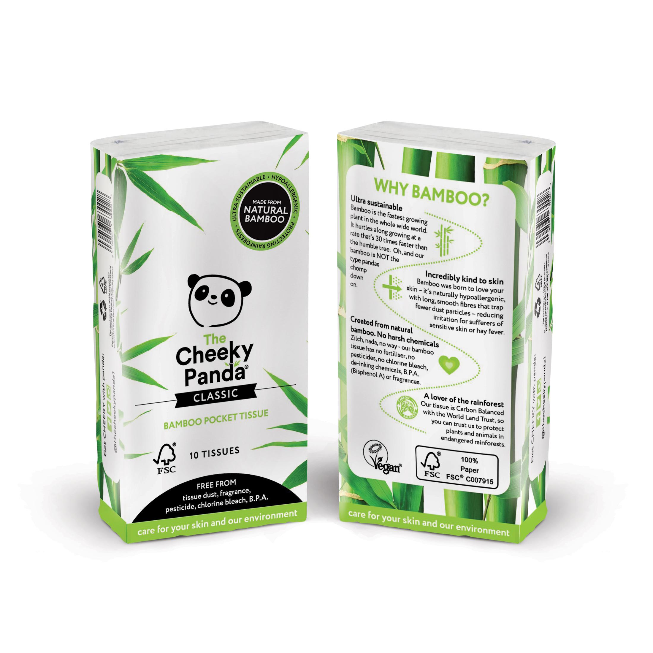 Pacotes de 10 lenços de bolso em bambu. Sem fragrância, pesticidas, cloro e BPA. Embalagem sem plástico, feita de papel reciclado.