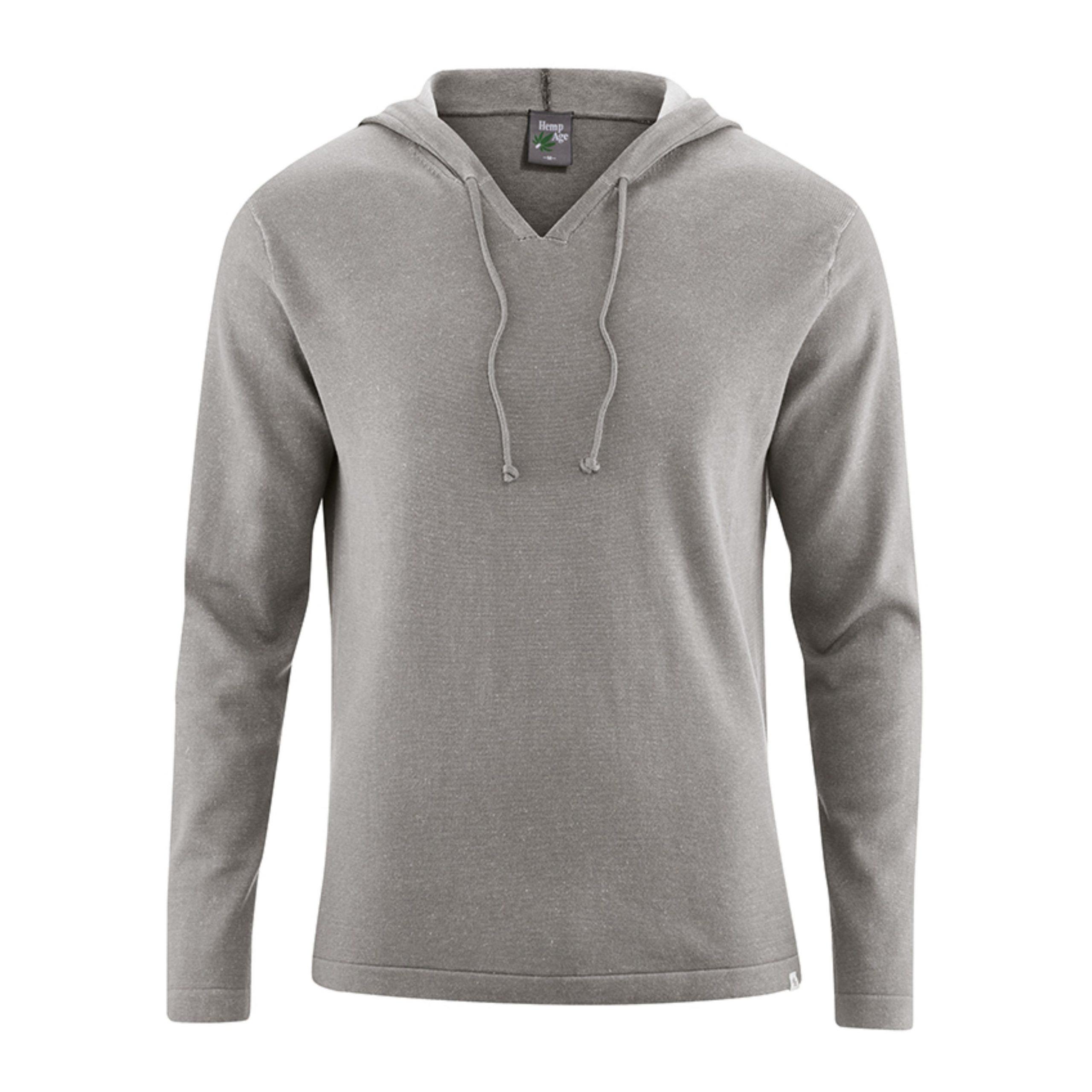 A camisola Jim, da Hempage, tem um capuz de malha fina em cânhamo e algodão orgânico.O visual natural e rústico é característico das fibras do cânhamo.