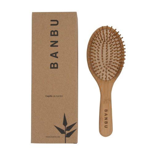 Escova para cabelo redonda em bambu e e borracha natural,