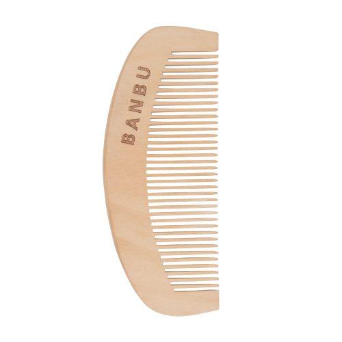 Pente em bambu para cabelos curtos.