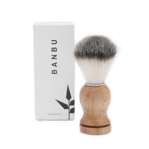 pincel de barbear em bambu, aço inoxidável e fibras sintéticas