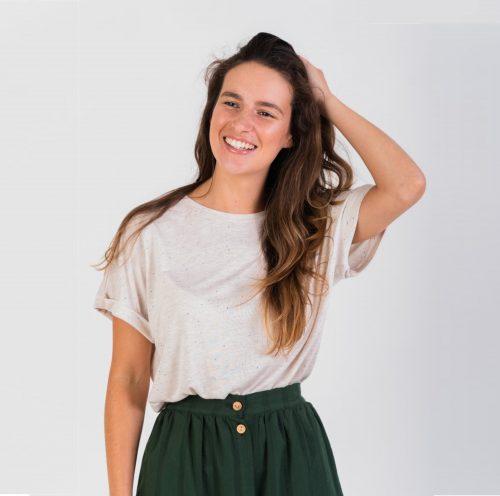 T-shirt em algodão e linho feita em Portugal.