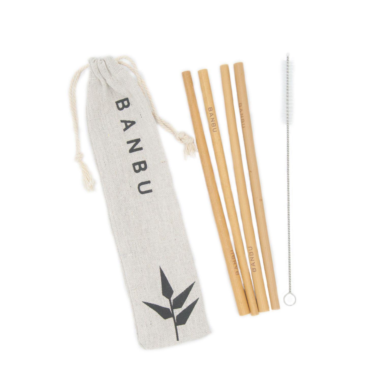 O kit de palhinhas de bambu, da Banbu, são feitas a partir dos galhos de bambu Moso proveniente florestas sustentáveis.