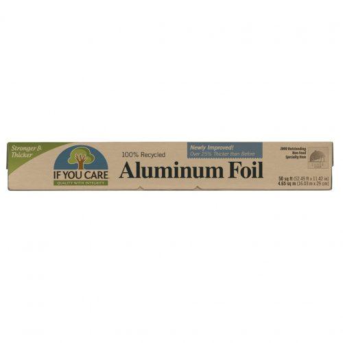 Folha de alumínio, da If You Care, fabricada com alumínio 100% reciclado. A folha de alumínio protege os alimentos contra luz, oxigénio e humidade