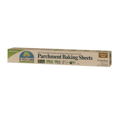 Folhas de papel manteiga, pré-cortadas, 100% não branqueado, não é necessário untar (pode ir até aos 220ºC).Este papel é reutilizável!