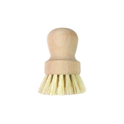 Escova para frigideiras elegante com um suporte de madeira e cerdas vegetais produzida na Alemanha. Umaótima alternativa aos esfregões descartáveis.
