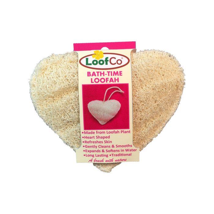 Esponja para o corpo sustentável, em forma de coração, uma alternativa 100% biodegradável às esponjas esfoliantes de plástico.