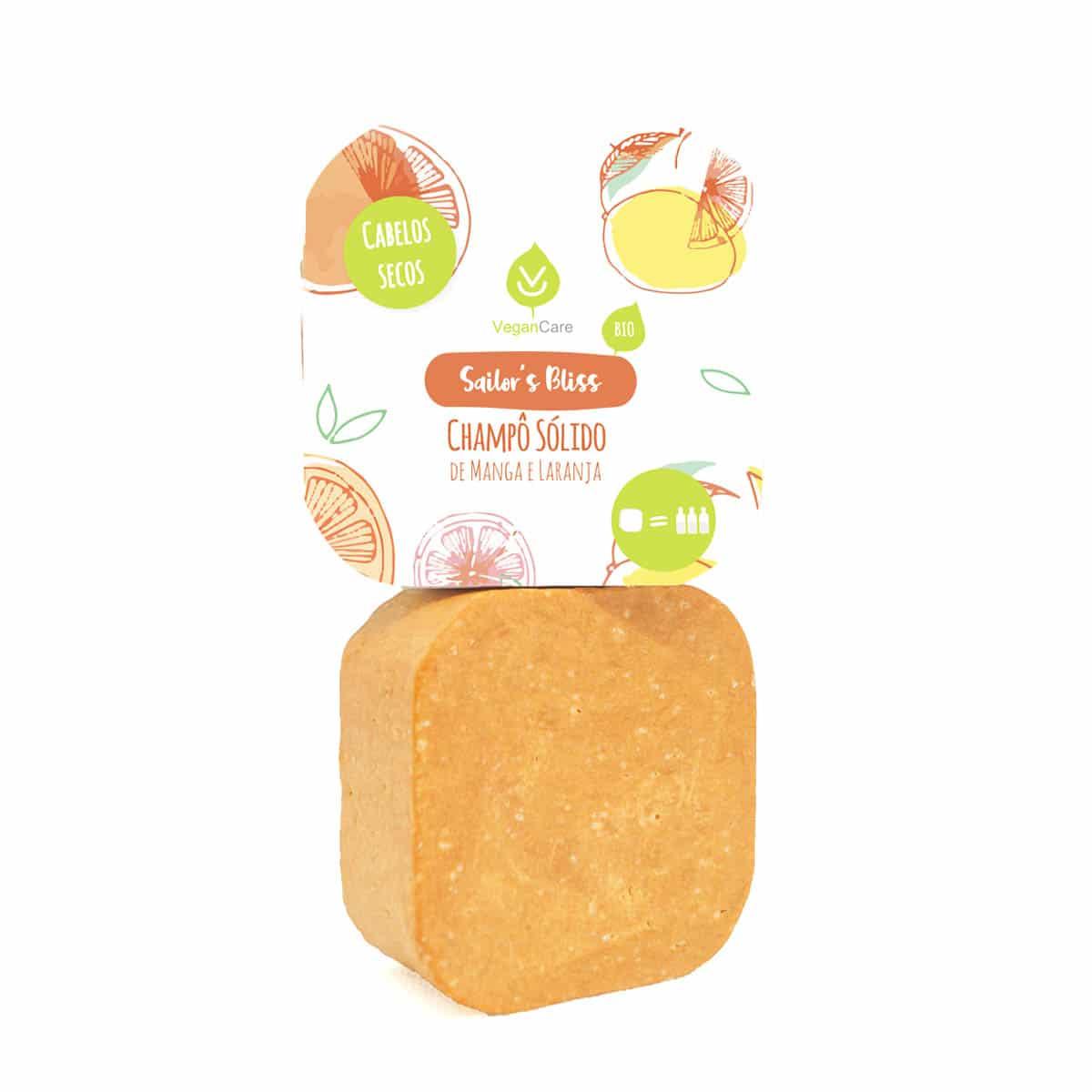 O champô sólido de manga & laranja foi especialmente desenvolvido para cabelos secos. Vegano, biodegradável e produzido em Portugal.