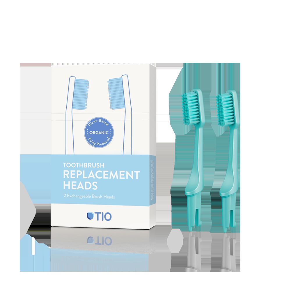 O sistema de substituição/recarga da cabeça e cerda da escova de dentes da TioCare economiza 70% de desperdício.