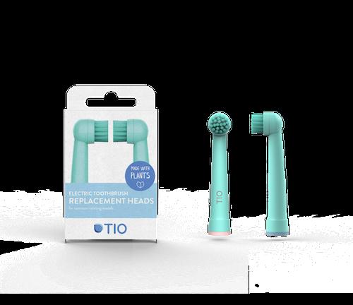 As recargas para as escovas de dentes elétrica da Tiomatik são fabricadas à base de plantas e bioplástico.