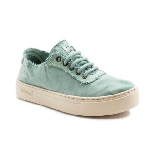 """Estes """"Sneaker Desportivo"""", cor aqua, foram fabricados em Espanha e com materiais ecológicos que respeitam o meio ambiente. Calçado Vegan."""