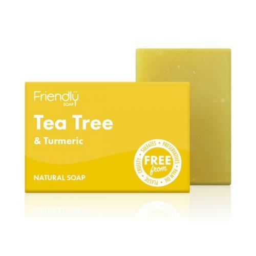O sabão para corpo de tea tree (árvore do chá) e curcuma é intensamente terapêutico! Antibacteriano e antifúngico.