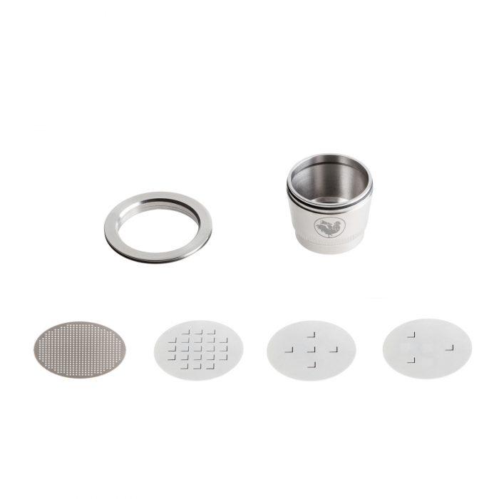O Basic Kit da WayCap contém uma cápsula reutilizável e recarregável para as máquinas Nespresso. Feito em aço inoxidável.