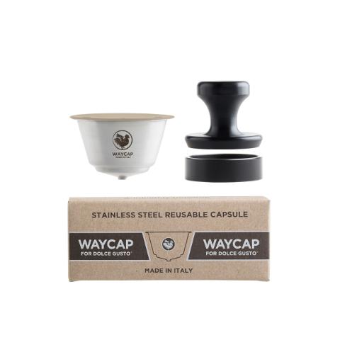 O Basic Kit da WayCap contém uma cápsula reutilizável e recarregável para as máquinas Dolce Gusto. Feito em aço inoxidável.