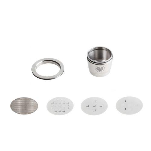 O Complete Kit da WayCap contém duas cápsulas reutilizáveis e recarregáveis para as máquinas Nespresso. Feito em aço inoxidável.