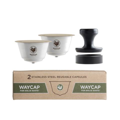 O Complete Kit da WayCap contém duas cápsulas reutilizáveis e recarregáveis para as máquinas Dolce Gusto. Feito em aço inoxidável.