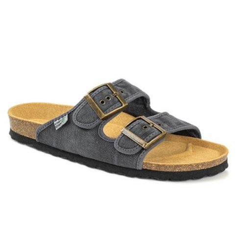 As bio sandálias tropic negro são sustentáveis e super confortáveis! Feitos com algodão orgânico e borracha reciclada e cortiça.