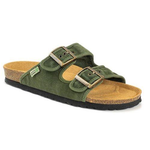 As bio sandálias tropic kaki são sustentáveis e super confortáveis! Feitos com algodão orgânico e borracha reciclada e cortiça.