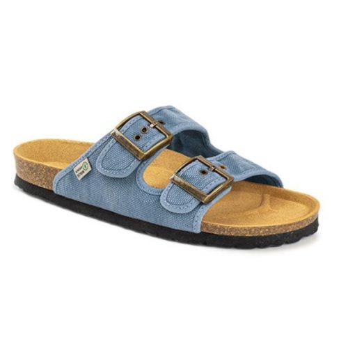 As bio sandálias tropic celeste são sustentáveis e super confortáveis! Feitos com algodão orgânico e borracha reciclada e cortiça.