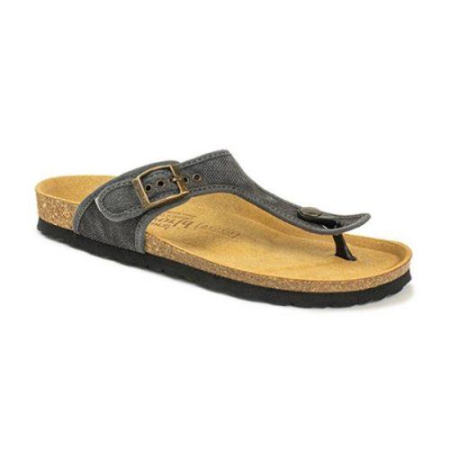 As bio sandálias dorian negro são sustentáveis e super confortáveis! Feitos com algodão orgânico e borracha reciclada e cortiça.