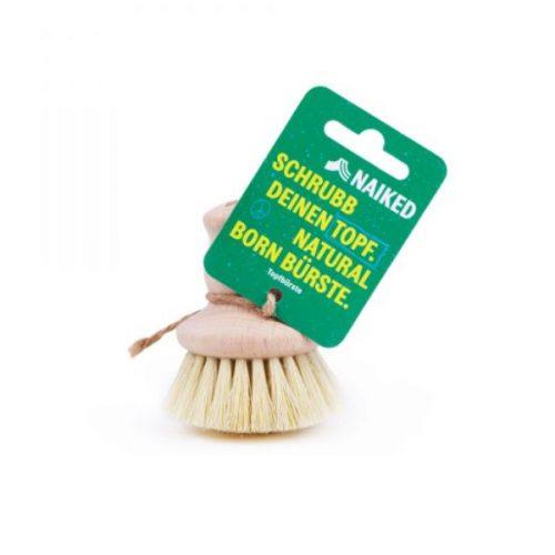 Escova para lavar frigideiras e panelas. O cabo ergonómico é feito de madeira não tratada e as cerdas são de fibra de agave.