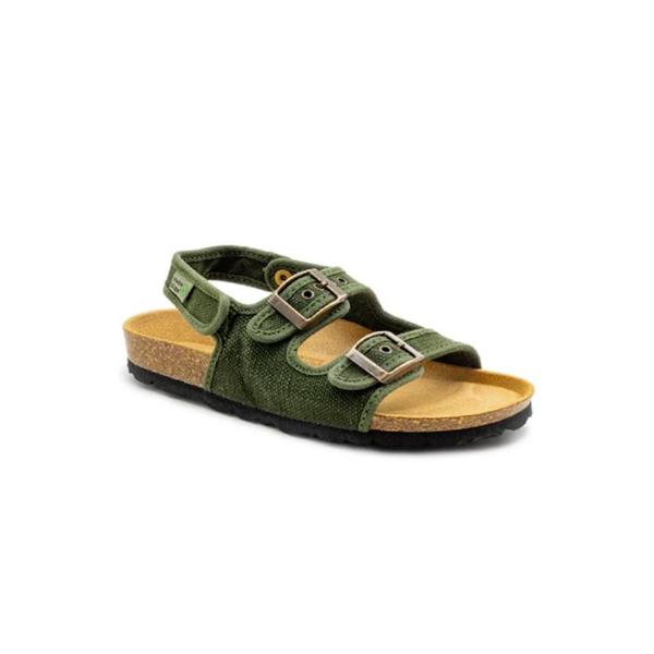 As bio sandálias tropic kids kaki são sustentáveis e super confortáveis! Feitos com algodão orgânico e borracha reciclada e cortiça.