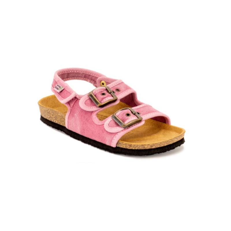 As bio sandálias maui kids rosa são sustentáveis e super confortáveis! Feitos com algodão orgânico e borracha reciclada e cortiça.