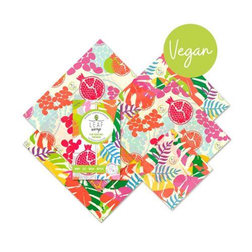 OsLeaf Food Wrapsão veganos e são feitos artesanalmente com algodão orgânico, cera de farelo de arroz, cera de sumagre e resina de árvore. Uma alternativa à película aderente.