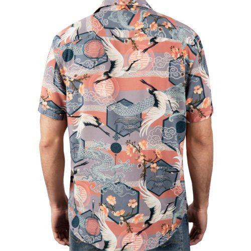 Camisa Asian Vibes em 100% viscose proveniente de bambu e restos de madeira. Tecido e camisa fabricada no norte de Portugal.