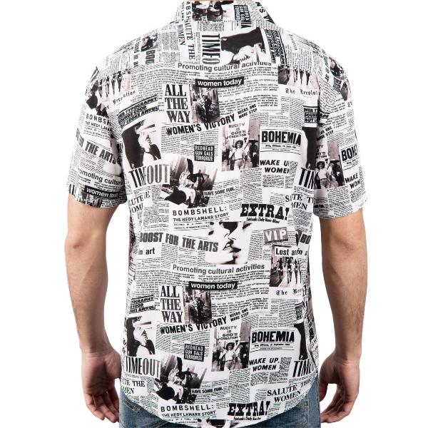 Camisa Flash News feita 100% viscose proveniente de bambu e restos de madeira. Tecido e camisa fabricada no norte de Portugal.