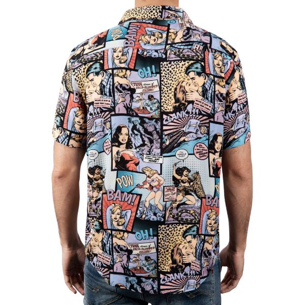 Camisa Kiss-Kiss Bam-Bam feita 100% viscose proveniente de bambu e restos de madeira. Tecido e camisa fabricada no norte de Portugal.