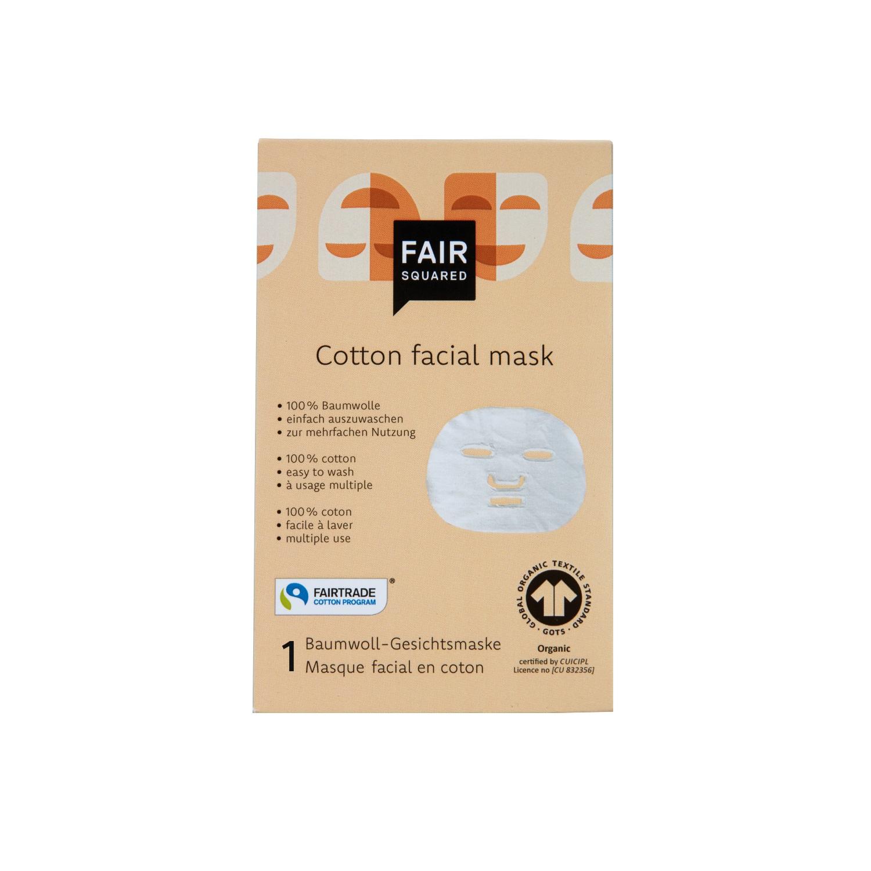 A máscara facial reutilizável de algodão orgânico é perfeita para utilizar em conjunto com a máscara facial da FAIR SQUARED.