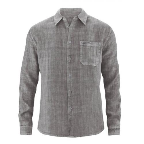 Camisa de cânhamo Billy, feita 100% em cânhamo. O visual natural e rústico é característico das fibras do cânhamo.